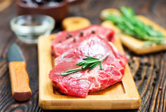 Raw meat. With aroma spice and sea salt Royalty Free Stock Photo