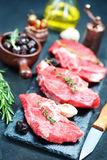 Raw meat. With aroma spice and sea salt Royalty Free Stock Photography