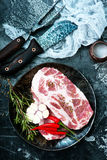 Raw meat. With aroma spice and sea salt Stock Images