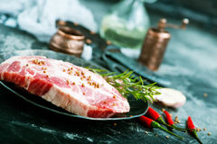 Raw meat. With aroma spice and sea salt Royalty Free Stock Photos