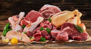 Raw meat assortment, beef, chicken, turkey. Decorated with greens and vegetables, placed on cooking paper on wooden table royalty free stock image
