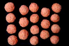 Raw meat balls background Royalty Free Stock Images