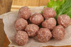Raw meat balls. For cooking Royalty Free Stock Photo