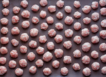 Raw meat balls. From raw minced meat Royalty Free Stock Photography