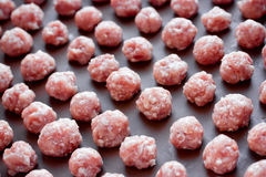 Raw meat balls. From raw minced meat Stock Photography