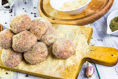 Raw meat balls minced beef rolled breadcrumbs Stock Photos