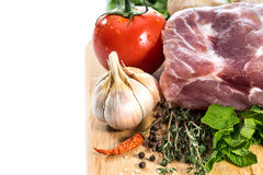 Raw Meat for barbecue with fresh Vegetables and Mushrooms Royalty Free Stock Images