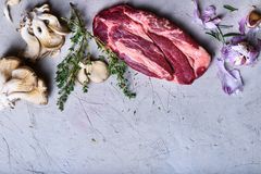 Raw meat, beef steak with cooking ingredients, spices,. Top view, copy space Stock Image