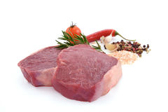 Raw meat, beef steak. Isolated on white background rib eye Royalty Free Stock Images