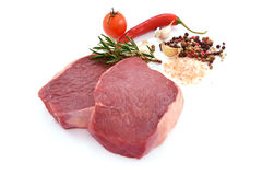Raw meat, beef steak. Isolated on white background rib eye Stock Photography
