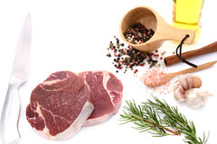 Raw meat, beef steak. Isolated on white background tenderloin Stock Images