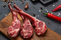 Raw meat on the bone with chilli and spices, black background for cooking with copy space, top view stock photos