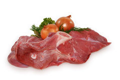 Raw meat on the bone. Isolated on white background Royalty Free Stock Photography