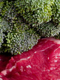 Raw Meat and Broccoli Stock Photography