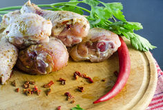 Raw meat, chicken drumstick Royalty Free Stock Photos