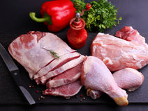 Raw meat, chicken, pork Royalty Free Stock Images