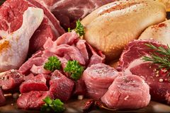 Raw meat in close-up. With greens and sprinkled with spices. Lamb, beef, chicken stock photo