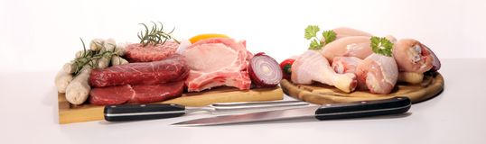 Raw meat. Different types of raw pork meat, chicken and beef with spices and herbs. And sausages royalty free stock images