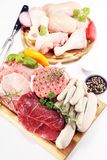 Raw meat. Different types of raw pork meat, chicken and beef with spices and herbs. And sausages royalty free stock image