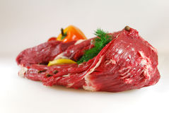 Raw meat. With dill, lemon and pepper Stock Images