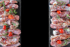 Raw Meat Flat Lay Background Stock Photo