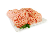 Raw meat. Fresh Minced Chicken in a Dish  Isolated against White background Stock Image