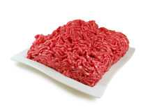 Raw meat. Fresh Minced Mix of Meat in a Dish Isolated Against White background Royalty Free Stock Photo