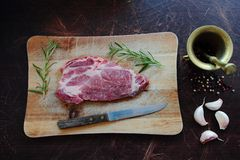 Raw meat. Fresh and raw pork meat with ingredients Royalty Free Stock Photos