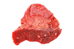 Raw meat. Fresh red raw beef isolated on white background royalty free stock photo