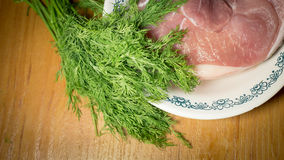 Raw meat. Fresh Raw meat on white plate Stock Photography