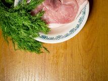 Raw meat. Fresh Raw meat on white plate Stock Photos
