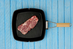 Raw meat in a frying pan. For the grill Stock Image
