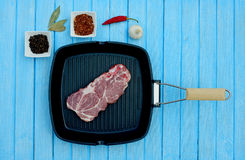 Raw meat in a frying pan. For the grill Royalty Free Stock Photography