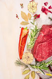 Raw meat with herbs and spices for cooking on white wooden background, top view Royalty Free Stock Photo