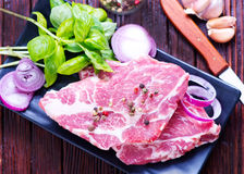 Raw meat for kebab. Raw meat with spice and salt, meat for kebab Royalty Free Stock Photo