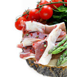 Raw meat, lamb chops with vegetables Stock Photography