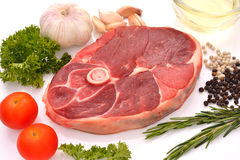 Raw meat. Raw lamb leg ready to be cooked isolated on white Stock Photos