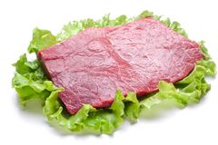 Raw meat on lettuce leaves. On white Stock Images