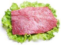 Raw meat on lettuce leaves. Stock Image