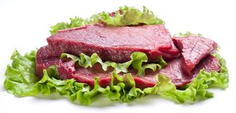 Raw meat on lettuce leaves. Isolated on white Stock Images