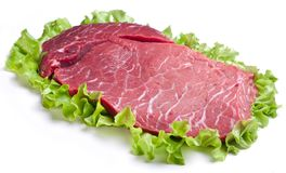 Raw meat on lettuce leaves. Isolated on white Stock Photography