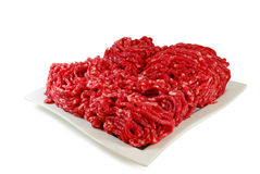 Raw meat. Minced Beef in a Dish isolated on white background Stock Image