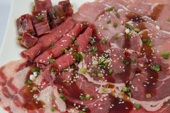 Raw meat mix. And kurubuta pork Royalty Free Stock Image