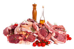 Raw Meat. Mix of steaks, poultry, sausages, ham, chopped and minced Stock Photography