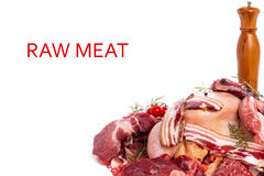 Raw Meat Mixed. Raw meat mix: steaks poultry sausages ham chopped and minced Royalty Free Stock Photography