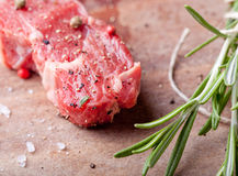 Raw meat, mutton, lamb rack on a wooden background Stock Image