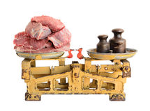 Raw meat on old scales Stock Photography