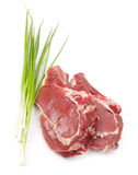Raw meat with onion Stock Photos