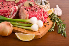 Raw meat with onion closeup Royalty Free Stock Photo