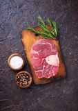 Raw meat osso buco with spices. Top view Stock Images